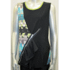 Zipper Jersey Vest with Printed Knit Accents