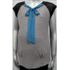 Stone Textured Knit Raglan-Sleeve Vest with Black Contrast