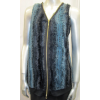 Striped Faux Fur Front Zip-Up Vest, Banded Bottom