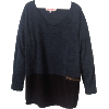 Jade Heather Raglan Sweater with Black Jersey Elasticized Border