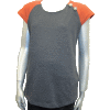 Charcoal Stretch French Terry Vest with Rust Raglan Sleeve