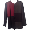 Maroon/Black/Grey Color-Block Ponte Zipup Jacket